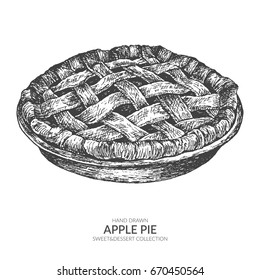 Hand drawn apple pie with ink and pen. Vintage black and white illustration. Sweet and dessert vector element.