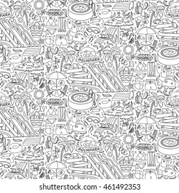 Hand drawn aquapark seamless pattern. Water entertainment objects and elements. Doodle coloring page