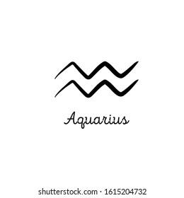 Hand drawn aquarius zodiac illustration. Simple line aquarius zodiac icon. Tattoo aquarius zodiac vector symbol. Hand drawing aquarius sign