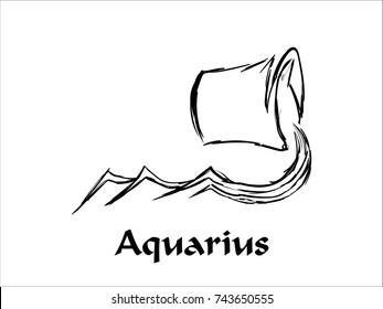 Hand Drawn Aquarius Zodiac Sign in Sketch and line art
