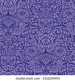 Hand drawn arabesque floral ornament damask illustration. Seamless vector purple lilac pattern. Baroque roccoco style all over print. Intricate decorative line art for wallpaper, elegant home decor.