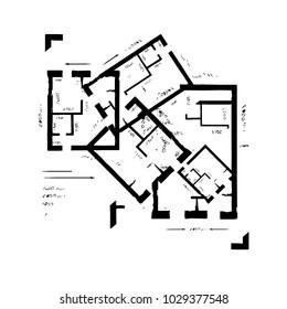 Hand drawn architectural plan background. Vector illustration