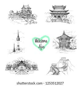 Hand drawn architecture sketch set of landmarks of Asia.Bukchon Hanok Village.Seoul,South Korea.Gyeongbokgung Palace.Hyangwonjeong.Himeji Castle.Japan.Marble Temple of Bangkok, Thailand.The Great Wall