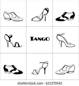 Hand drawn argentine tango poster with dancing shoes  men's and women', on a tiled background, in black and white; with word tango. Postcard, milonga invitation, flyer for tango school or festival.