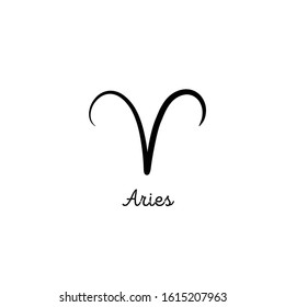 Hand drawn aries zodiac illustration. Simple line aries zodiac icon. Tattoo aries zodiac vector symbol. Hand drawing aries sign