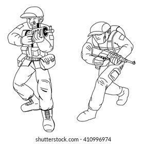 Hand drawn , Army Soldier with assault rifle isolated on white