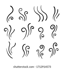hand drawn Aromas vaporize icons. Smells vector line icon set, hot aroma, stink or cooking steam symbols, smelling or vapor, smoking or odors signs doodle