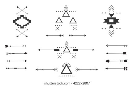 hand drawn arrow aztec  collection set, style different, vector illustration, graphic design tribal elements