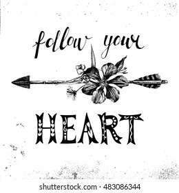 Hand drawn arrow with flowers, leaves and type design