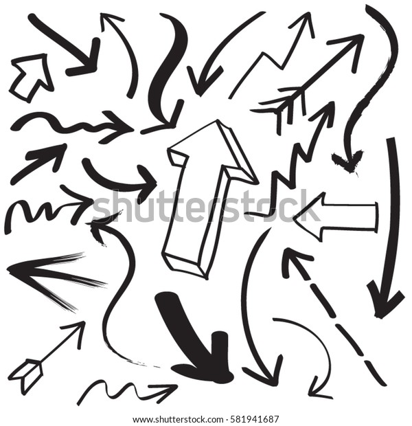 Hand drawn arrows in black.  Stylish elements for design. Vector illustration.