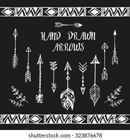 Hand drawn arrows and boho design elements set. Vector illustration.