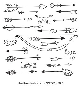 hand drawn arrows and bow collection, vector illustration