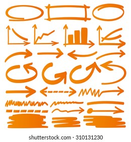Hand drawn arrows, charts and graphic elements in orange. Stylish elements for design. Vector illustration.
