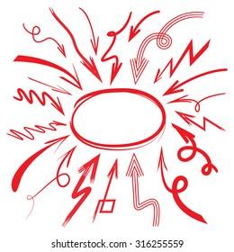 hand drawn arrows and circle