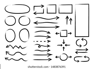 Hand drawn arrows circles set. Vector abstract doodle writing, simple grunge ink pen arrows, circles, ellipse, rectangle, pointer sketch
