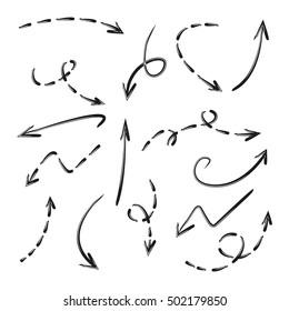 hand drawn arrows, dashed arrows