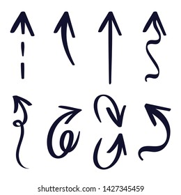 Hand drawn arrows. Doodle abstract stock highlighter markers. Hand drawn arrows in a different shapes. Isolated vector set on a white background