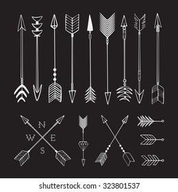 Hand drawn arrows. Fighting arrow, munition. Sketch.