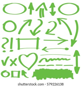 Hand drawn arrows and graphic elements in green. Stylish elements for design. Vector illustration.