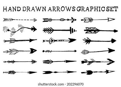 Hand drawn arrows graphic set