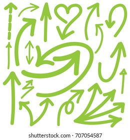 Hand drawn arrows in green. Stylish elements for design. Vector illustration.
