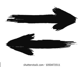 Hand drawn arrows. Grunge texture. vector illustration
