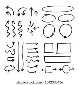 Hand drawn arrows, infographics doodle elements