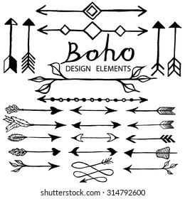 Hand drawn arrows set. Collection of boho doodle design elements. Hand drawn vector illustration.