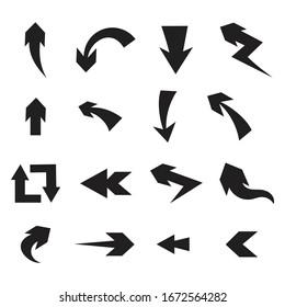 Hand Drawn Arrows Set on White Background.