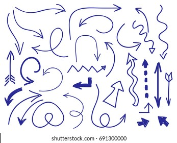 Hand drawn arrows set on white background. Collection of drawing doodle arrrow pointer, vector illustration