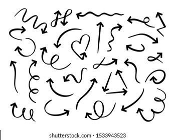 Hand drawn arrows set. Sketch arrow, curved scribble way pointed line and doodle round pointer vector set. Twisted and circular marker. Direction symbol, curly indicators pack on white background