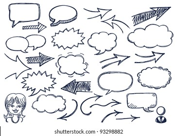 Hand drawn arrows and speech bubbles illustration set