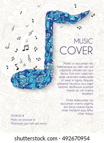 Hand drawn art abstract musical notes background. Vector illustration concept design