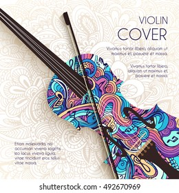 Hand drawn art abstract violin background of the ornament. Vector illustration concept