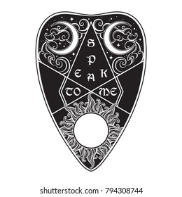 Hand drawn art divination board planchette isolated. Antique style boho chic sticker, tattoo or print design vector illustration.
