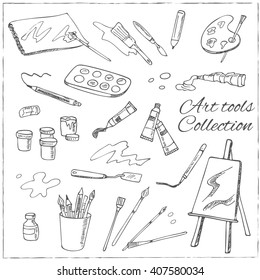 Hand drawn art tools set. Isolated vector illustration for identity, design, decoration, packages product and interior decoration