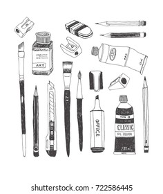 Hand drawn art tools and supplies set. Vector doodle illustration. Brush, Paintbrush, Paint tube, Sharpener, Pen, Pencil, Knife, Ink bottle, Cutter, Eraser, Rubber, Highlighter.