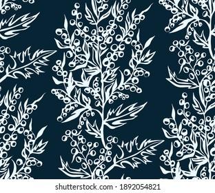 Hand drawn artemisia. Hand drawn ink illustration. Modern ornamental decorative background. Vector pattern. Print for textile, cloth, wallpaper, scrapbooking