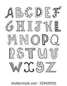 Doodle alphabet images stock photos vectors shutterstock hand drawn artistic letters set handdrawn doodle alphabet unique zentangle letters collection black thecheapjerseys Gallery