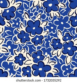 Hand Drawn Artistic Naive Daisy Flowers on Blue Background Vector Seamless Pattern. Blob Blooms, Blotched Floral Print. Expressive Outlines, Organic Large Scale Simplistic Retro Fashion Design