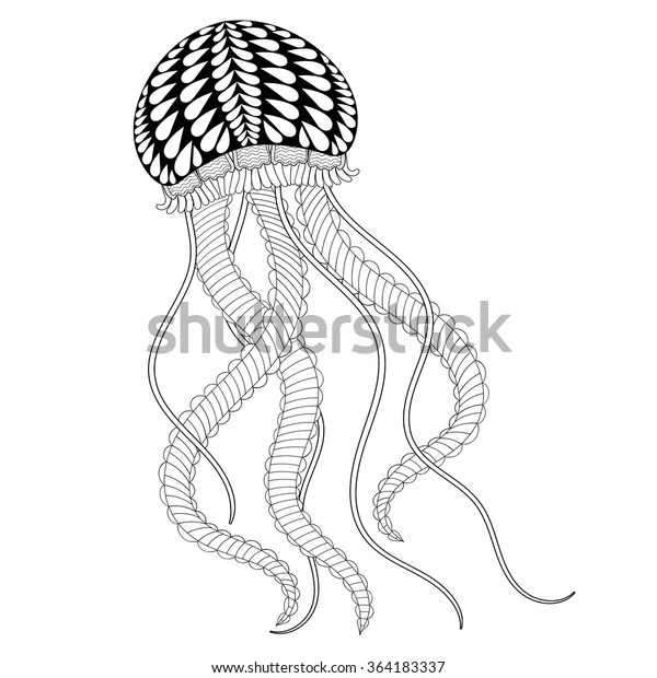 Hand Drawn Artistic Sea Jellyfish Adult Stock Vector Royalty Free Rhshutterstock: Henna Animal Coloring Pages At Baymontmadison.com
