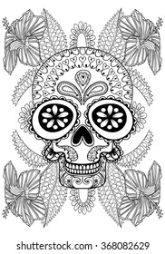 Hand drawn artistic Skull in flowers for adult coloring page A4 size in doodle, zentangle style, Mexican ethnic ornamental patterned print, monochrome sketch. Floral printable vector illustration.
