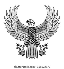 Hand drawn artistically Egypt Horus Falcon, patterned Ra-bird in zentangle style. Wisdom symbol of Athena for tattoo, t-shirt, adult coloring pages. Ancient Egyptian vector illustration of Ankh.