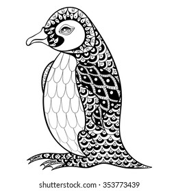 Hand Drawn Artistically King Penguin Zentangle Illustartion For Adult Anti Stress Coloring Pages Or Tattoos