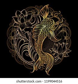 Hand drawn Asian spiritual symbols - gold koi carp with lotus and florid Crescent on a black background. Bohemia Style. It can be used for tattoo and embossing or coloring