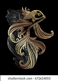 Hand drawn Asian spiritual symbols - gold koi carp with waves on a black background. It can be used for tattoo and embossing or coloring
