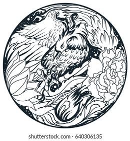 Hand drawn and Asian tattoo design, Phoenix fire bird in circle