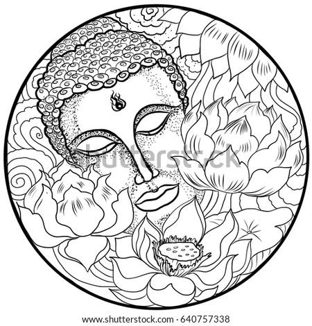Hand drawn asian tattoo design buddha stock vector royalty free hand drawn and asian tattoo design buddha with lotus flower in circle mightylinksfo