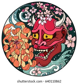 Hand drawn and Asian tattoo design,Oni mask with Sakura and Peony flower in circle.colorful halftone