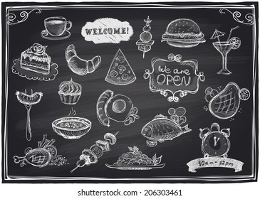 Hand drawn assorted food and drinks graphic symbols set on a chalkboard background, vector illustration